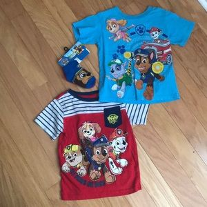 Paw Patrol T-Shirts Bundle of Two 2 (3T) & Socks
